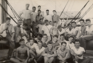 Harvey Cox is second from the right in the front row of this seagoing cowboy crew photo on the SS Robert W. Hart. Photo courtesy of Richard Musselman family.