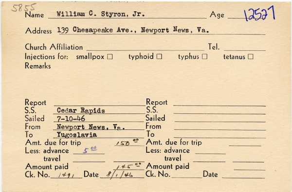 William Styron seagoing cowboy card