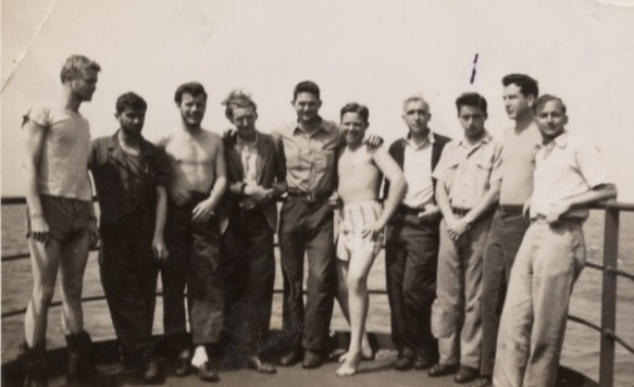 Cletus Schrock and some of his Carroll Victory crewmates, spring 1946