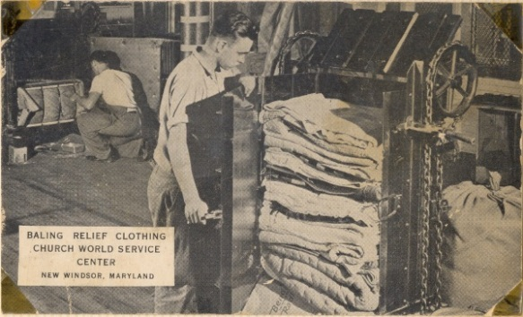 Clothes processing at Brethren Service Center.