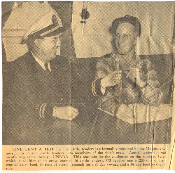 Seagoing cowboy receives penny for Merchant Marine service.