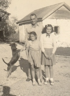 Roger Roop with daughters Patricia and Shirley, fall 1945. Photo: Robert Ebey.