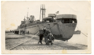 The S.S. Charles W. Wooster docked in Bremen, Germany, to offload heifers to be sent to Czechoslovakia in January 1946. Photo credit: Christian Kennel.