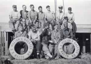 Homer Kopke's seagoing cowboy crew, August 1946. Photo courtesy of the Homer Kopke family.