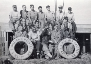 Homer Kopke's seagoing cowboy crew, August 1946. Photo courtesy of the Homer Kopke family.