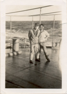Ralph Witmer (right) and his cousin Howard Weaver ride the waves on their seagoing cowboy journey the end of 1946. Photo courtesy of Ralph Witmer.