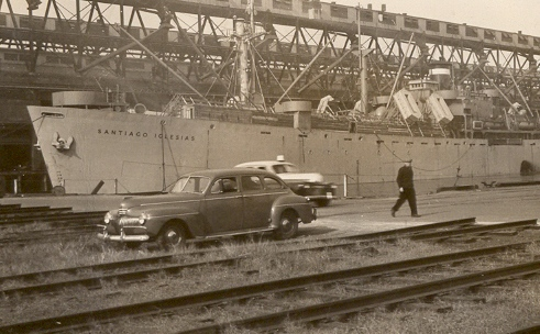 The S. S. Santiago Iglesias awaits loading in Baltimore, MD, November 1945