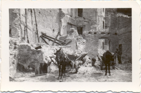 Horse carts like these helped clear up the rubble of Gdansk, summer 1946. Photo credit: Dwight Ganzel.