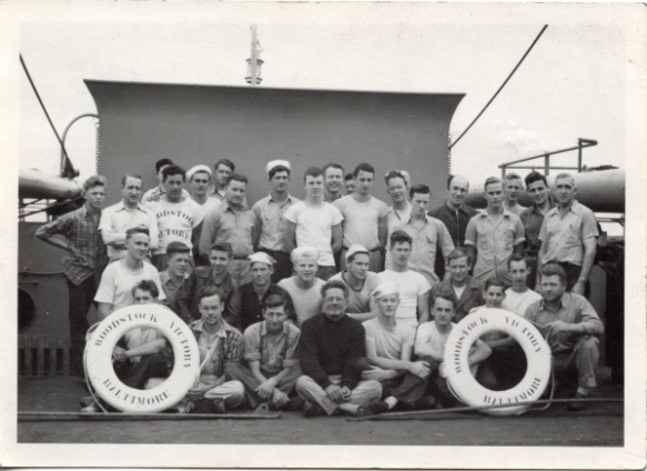 The seagoing cowboy crew of the S. S. Woodstock Victory, June 1946. Photo courtesy of Wayne Zook.