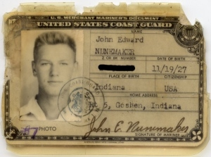John Nunemaker's Merchant Marine card making him an official cattle tender for UNRRA. Photo courtesy John Nunemaker.