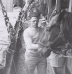Conrad Snavely feeds his horses en route to Bremen, Germany, June 1946. Peggy Reiff Miller collection, courtesy of Ivan Meck and Guy Buch.