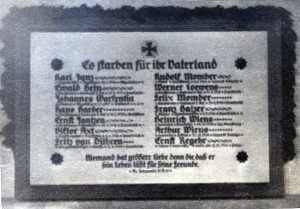 This plaque in the Danzig Mennonite Church served as a sobering reminder of Polish Mennonite participation in World War I. Photo courtesy of Richard Rush.