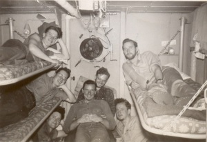 Luke, top left, enjoyed life-long friendships with some of these crew mates of the S. S. Norwalk Victory, Feb. 1946. Photo courtesy of Elmer Bowers.