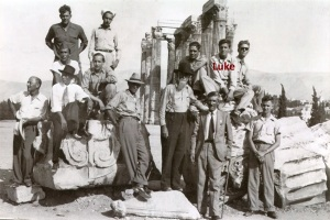 Luke explores the Acropolis in Athens, Greece, with crew members of the S. S. Charles W. Wooster, 1945. Photo courtesy of Wilbur Layman.