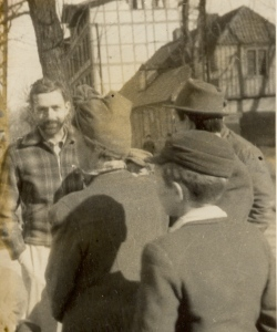 Jim Martin talks with a Polish woman near the port. Photo courtesy of Jim Martin.