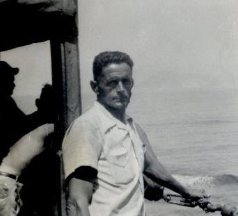 O. R. Hersch aboard the S. S. Virginian, July 1945. O. R. Hersch album, courtesy of Heifer International.