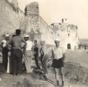Orvillel Hersch at the old wall of Salonika, Greece, July 1945. Photo courtesy of Heifer International.