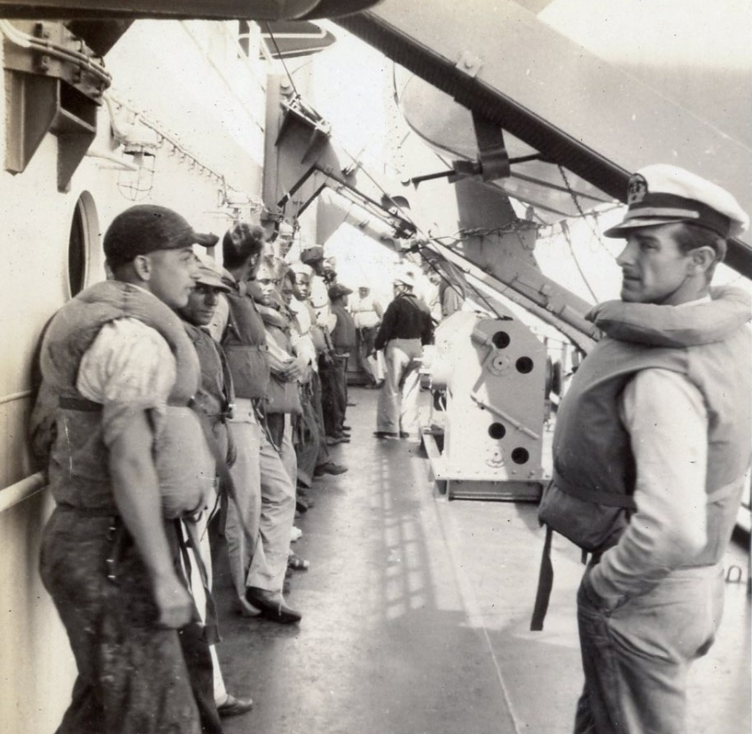 Life boat drill on the S. S. Creighton Victory, July 1946. Photo courtesy of Ben Kaneda.