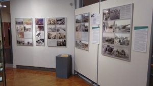 Panels showing the assistance of UNRRA, the seagoing cowboys, and the Heifer Project to Silesia following World War II. Photo: Peggy Reiff Miller