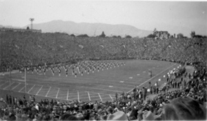 Half-time show at packed Rose Bowl Game stadium, 1947. Photo credit: Donn Kesler
